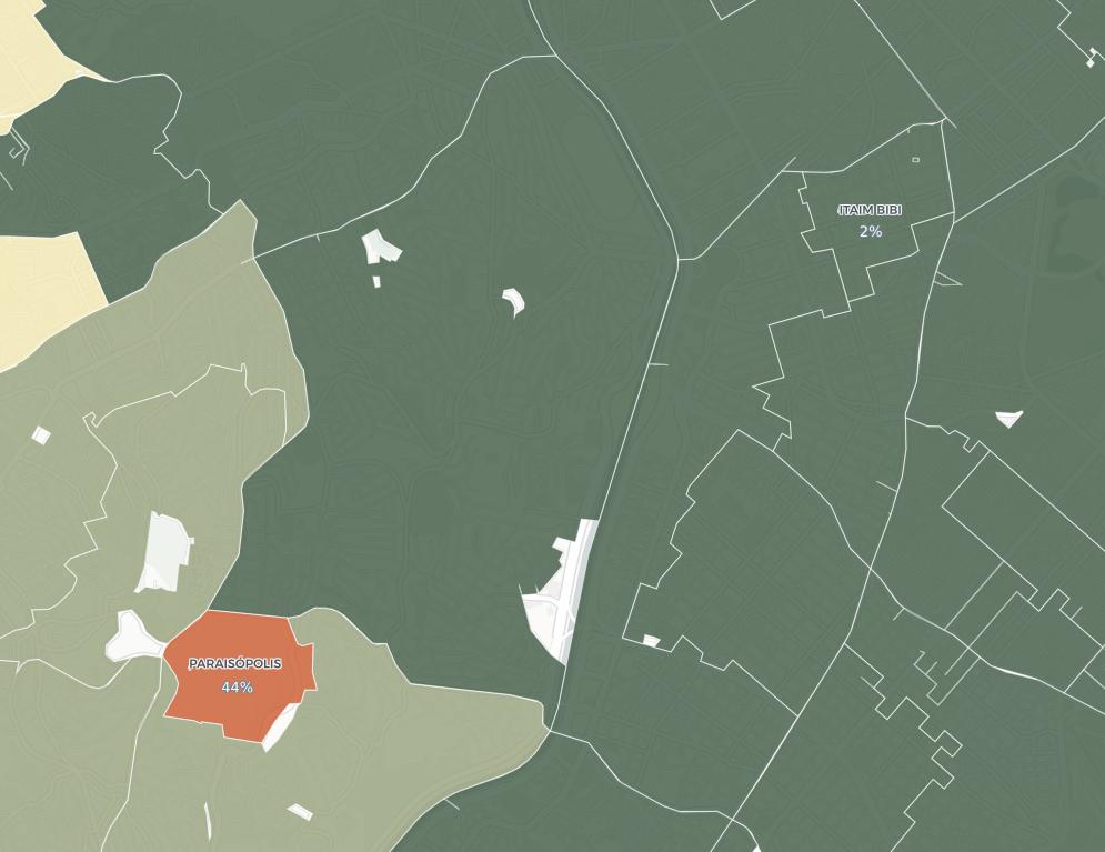 Itaim Bibi (canto superior direito) tem só 2% dos domicílios com mais de duas pessoas por quarto; em Paraisópolis (em vermelho), são 44% dos domicílios