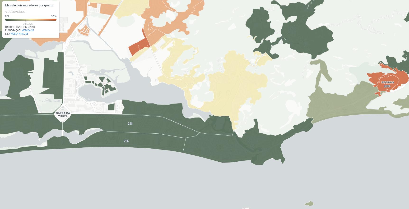 Na esquerda, a Barra da Tijuca, com 2% de domicílios com mais de duas pessoas por quarto; na direita, a Rocinha, com 38%