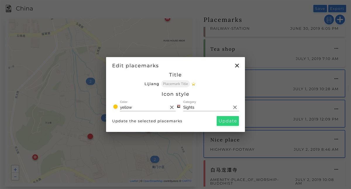 Interface Merkartex app - Edit multiple placemarks