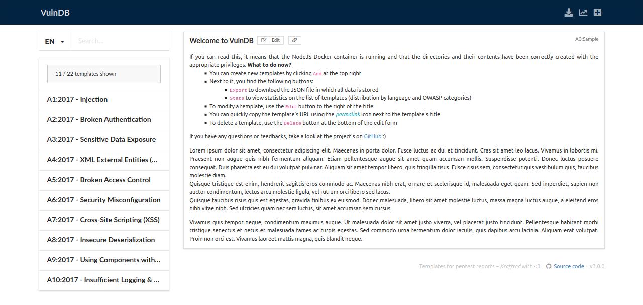 Web interface of VulnDB