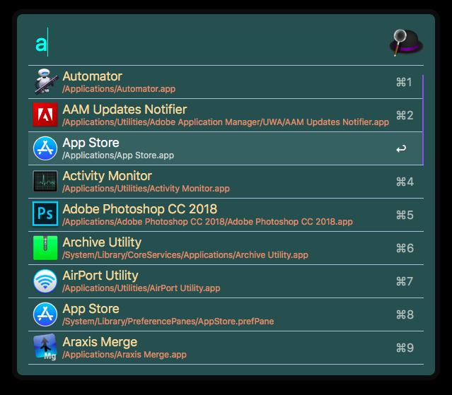 Alfred subtle-hacker theme screenshot