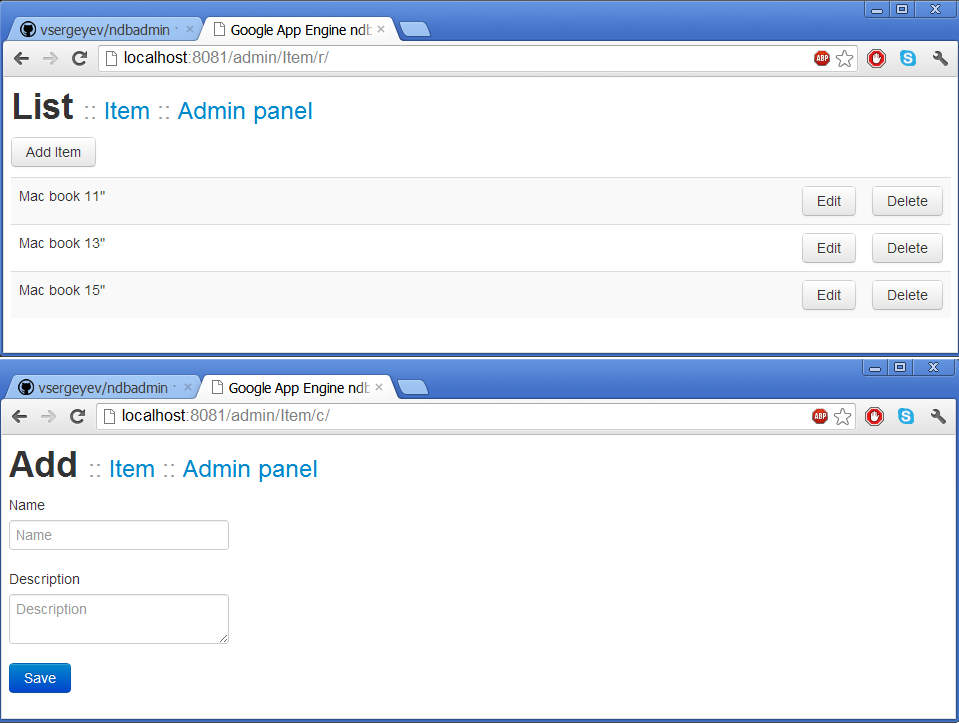 admin panel for gae models