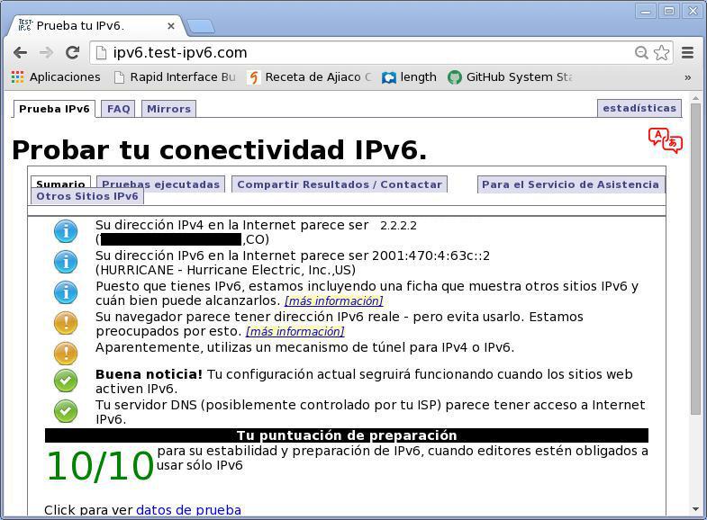 Chromium sobre Tunel IPv6
