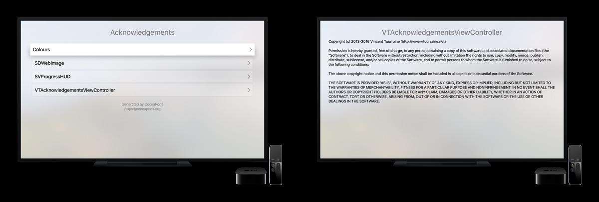 VTAcknowledgementsViewController Apple TV screenshots