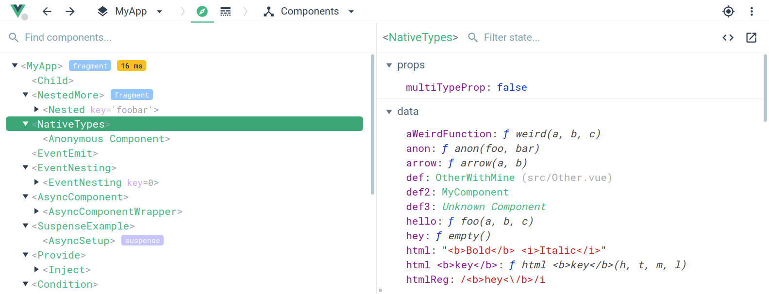 Screenshot of the Vue Devtools