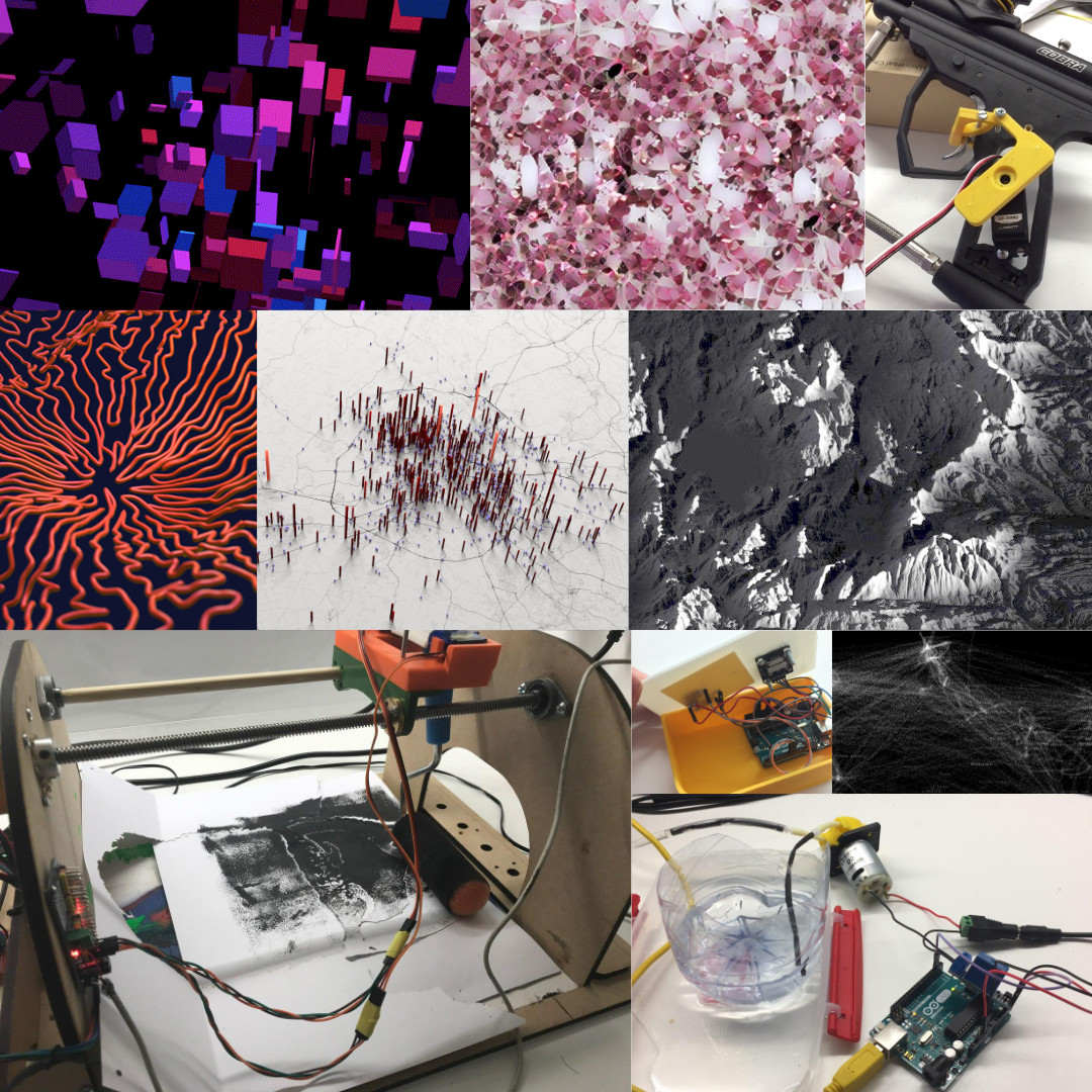 recap_of_me.jpg shows generative works and physical computing experiments (a paintball gun driven by a servo, a plant watering system, an arduino joystick, a stepper driven stencil machine)