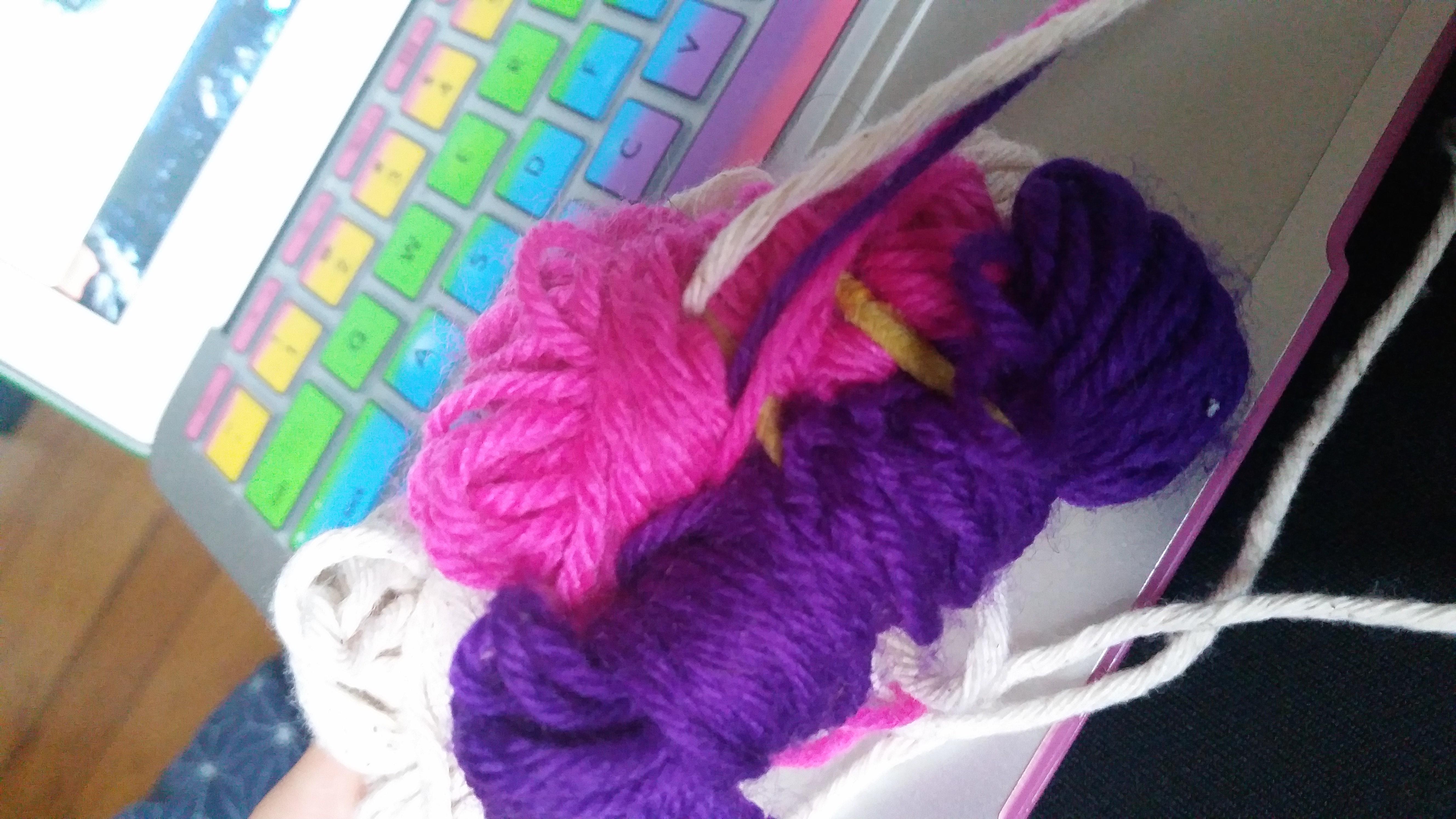 beautiful pink and purple yarn