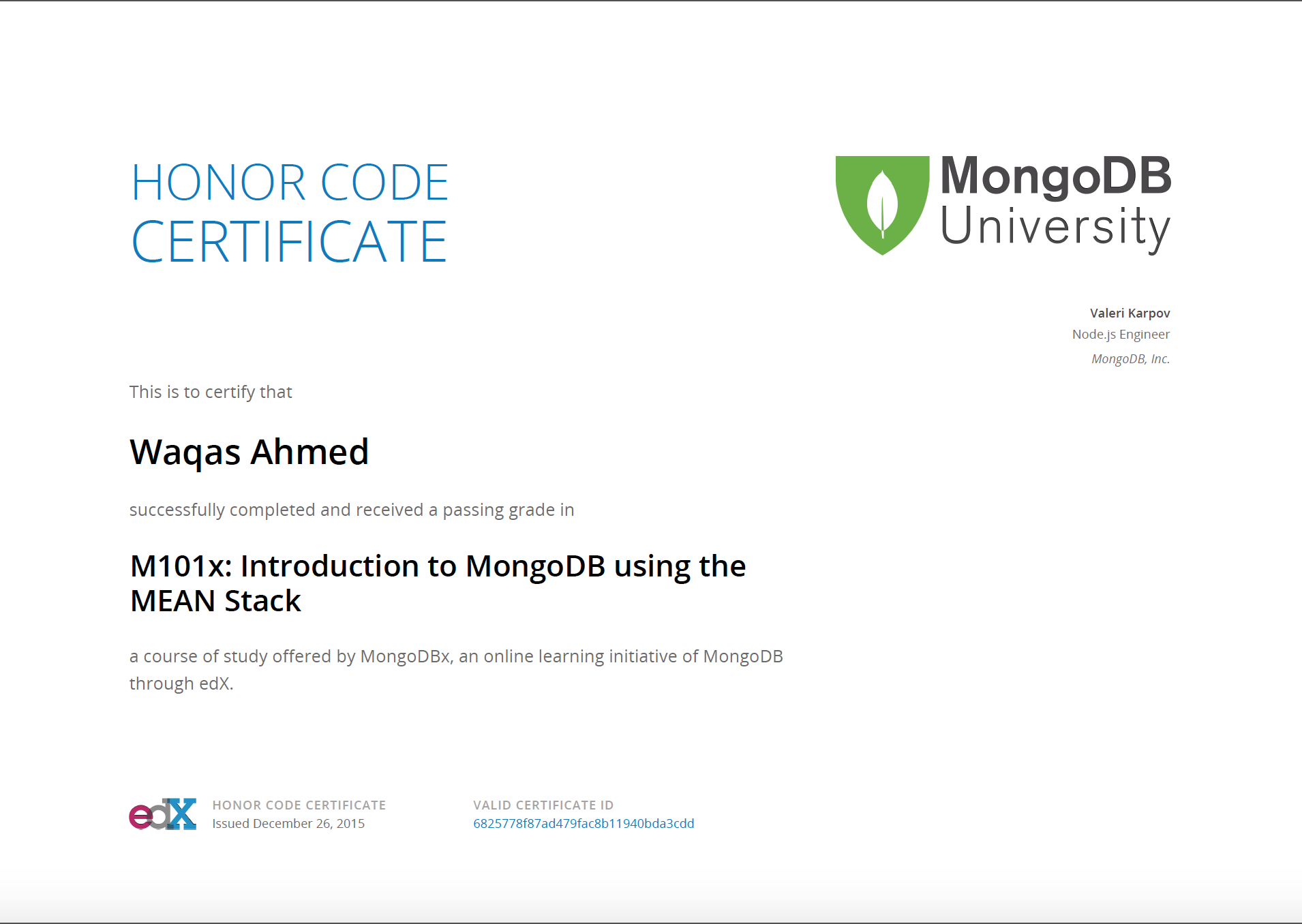 Github Wakqasahmedm101x Mongodb Using Mean Stack Mongodbx Course