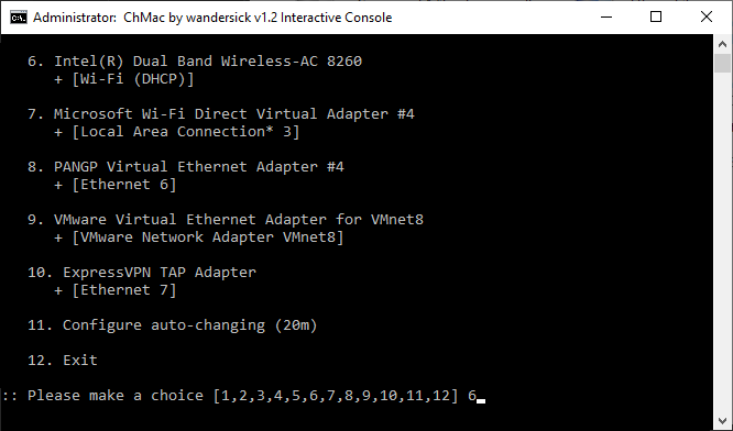 Select adapter after interactively configuring auto-changing