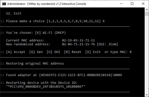 Restore original MAC address