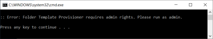 Error - No admin rights are detected, while UAC is off and/or the optional '_elevate.vbs' is not in the same folder