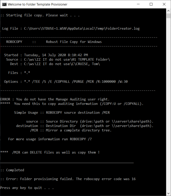 Error - Robocopy error ends with a return code presented to user