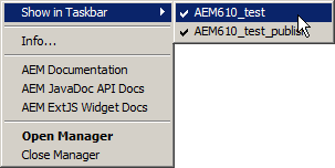 AEM Manager Context Menu