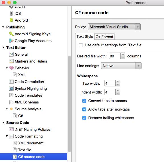 форматирование C#