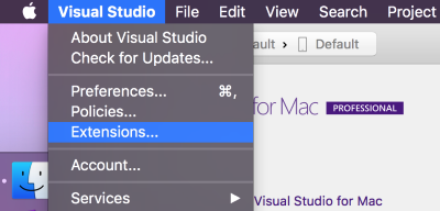 Visual Studio for Mac меню открытия Extensions Manager