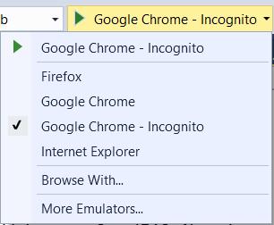 Список доступных браузеров в VS