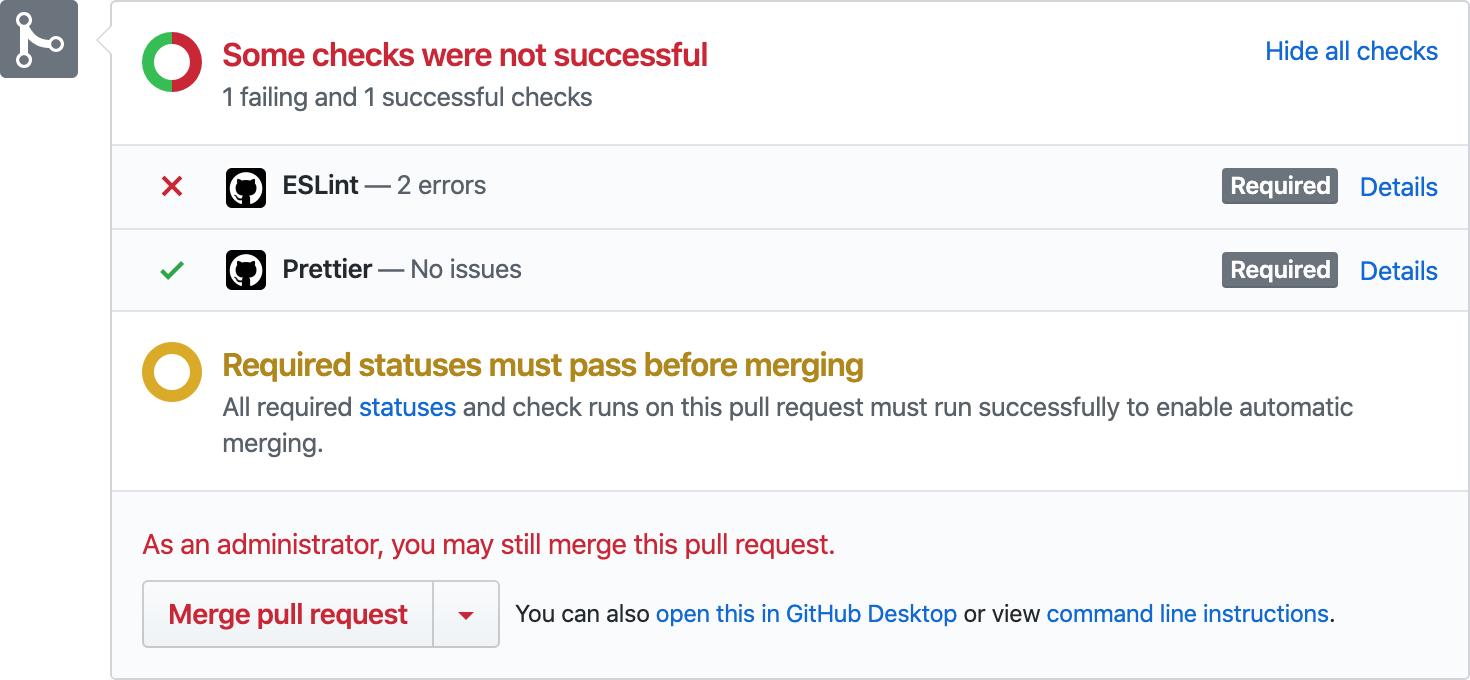 Screenshot of check runs