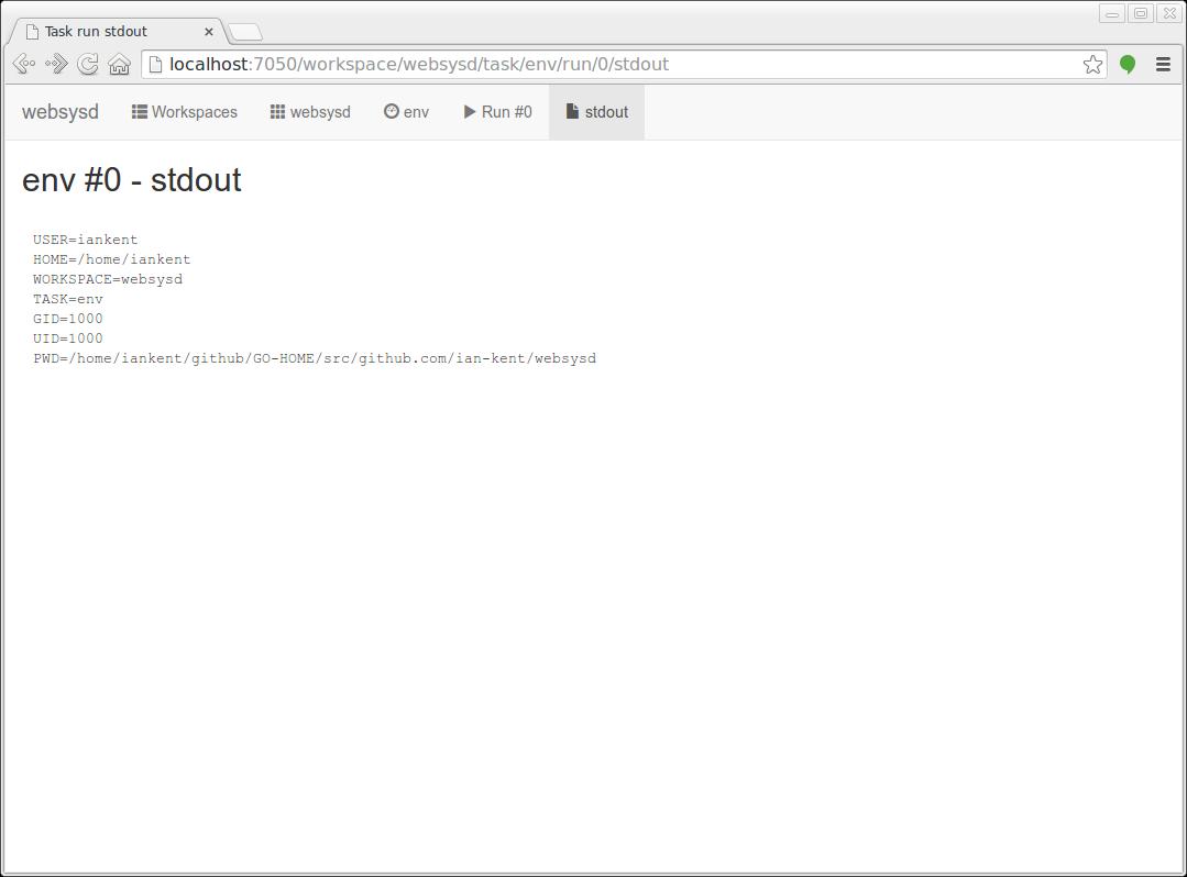 Screenshot of websysd log view