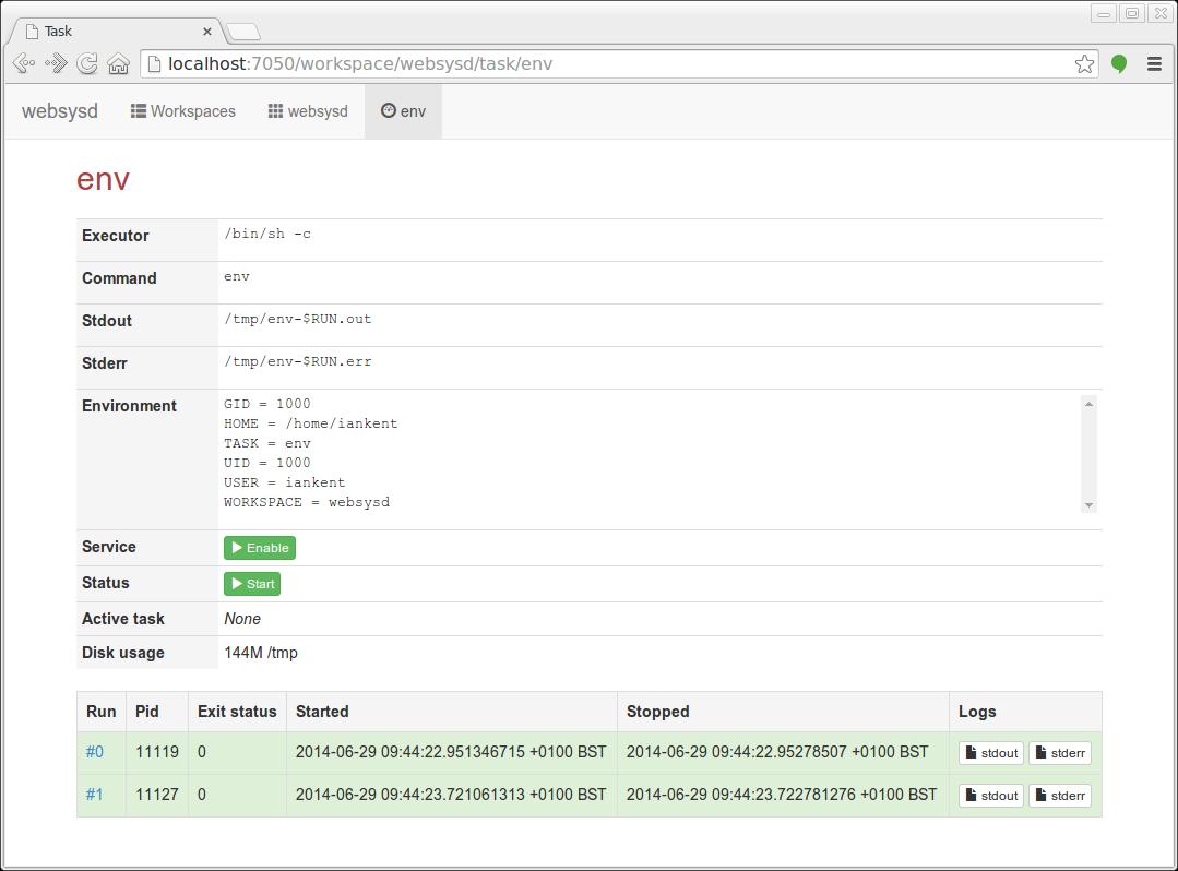Screenshot of websysd task view