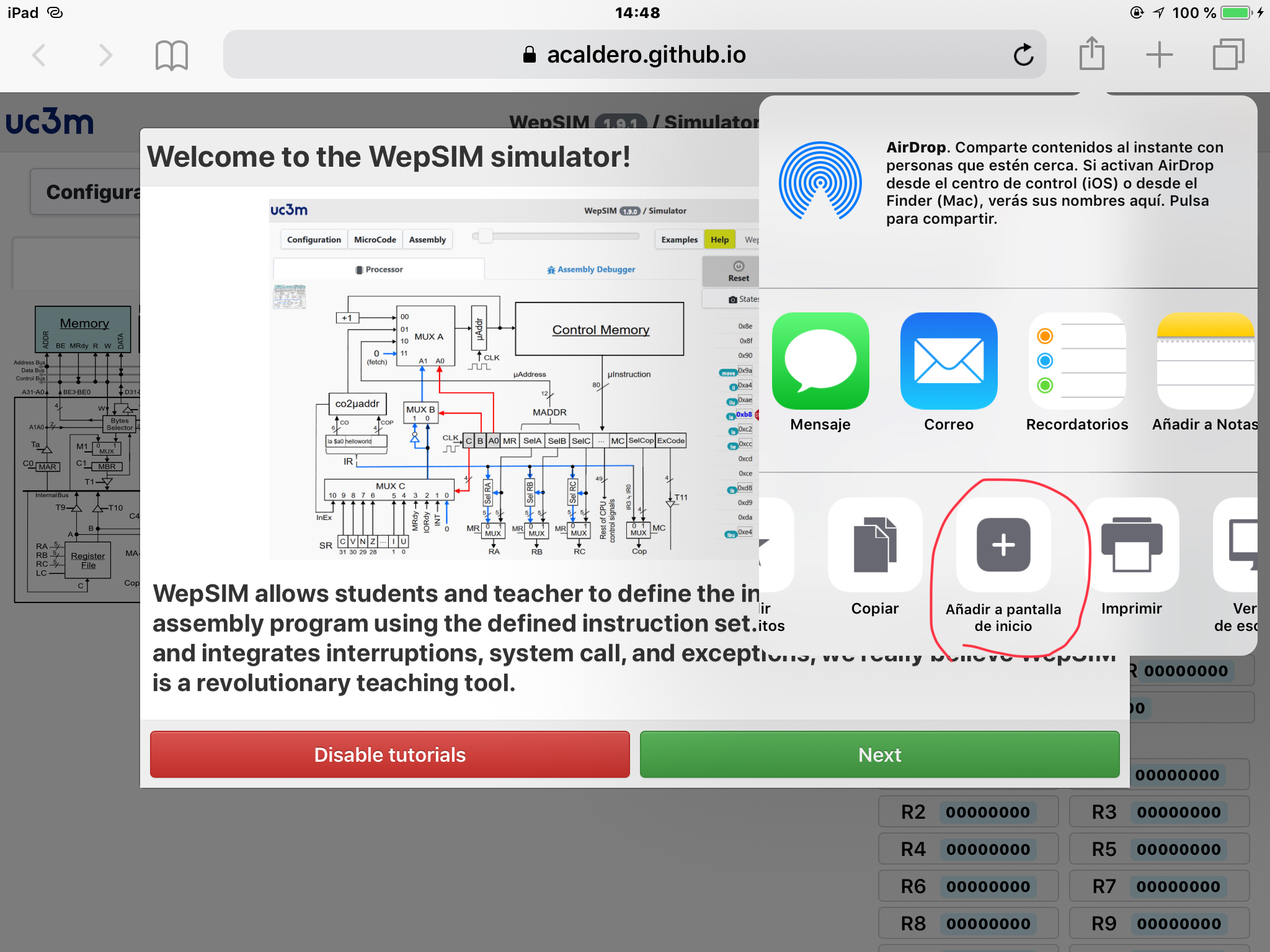 wepsim screenshot ios