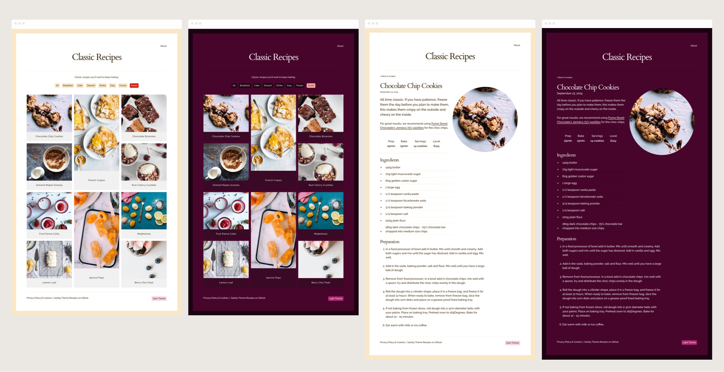 Screenshots of gatsby theme recipes demo site