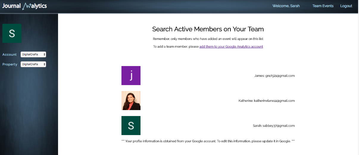 Screenshot of 'Team Management' page