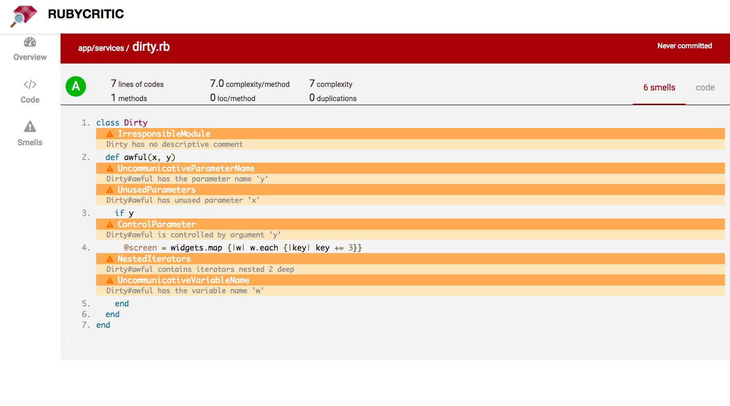 RubyCritic file code screenshot