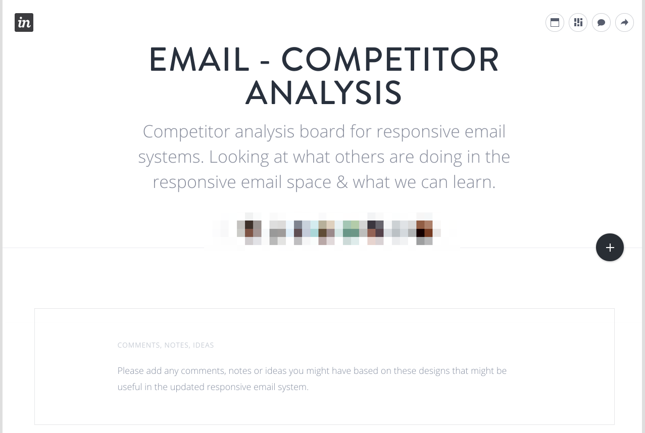 Competitor Analysis Board set up within InVision