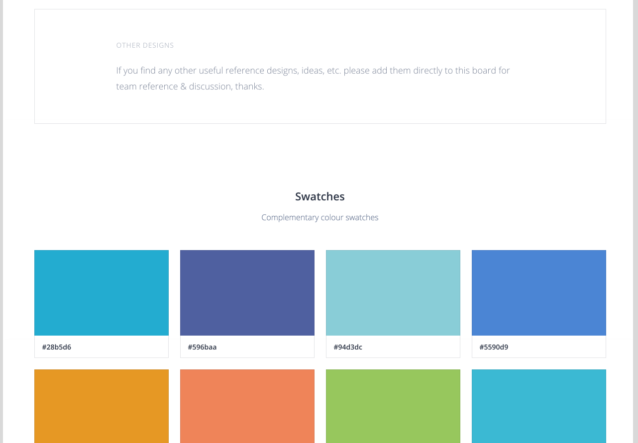 Competitor Analysis Board showing colour swatch ideas