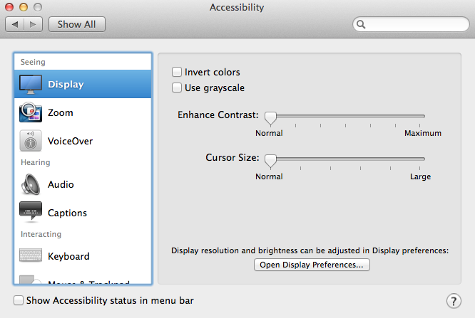 OS X Accessibility Settings