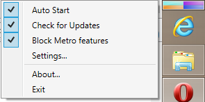 Screenshot of main context menu