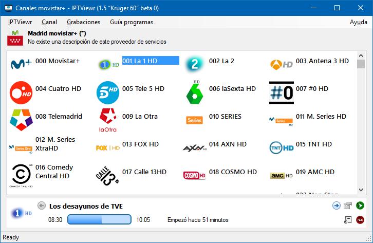 "Listado de canales movistar+ - IPTViewr (1.5 ""Kruger 60"" beta 0)"