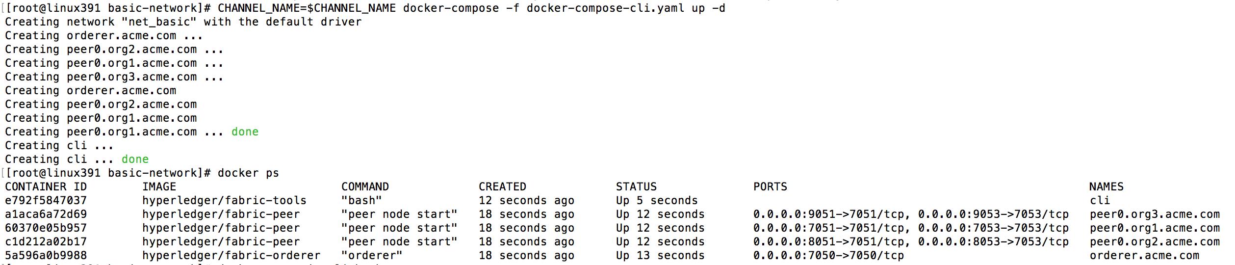 docker-compose output