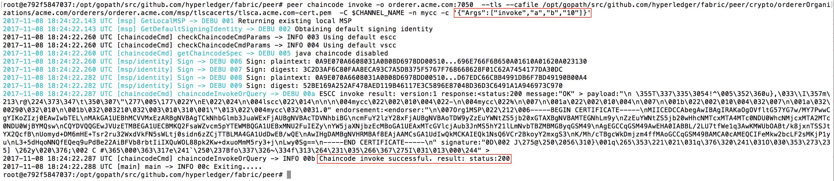 Invoke chaincode