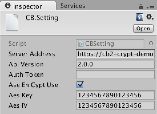 Unity CloudBread settings