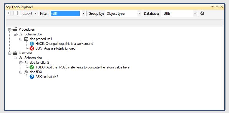 SQL Todo Explorer panel