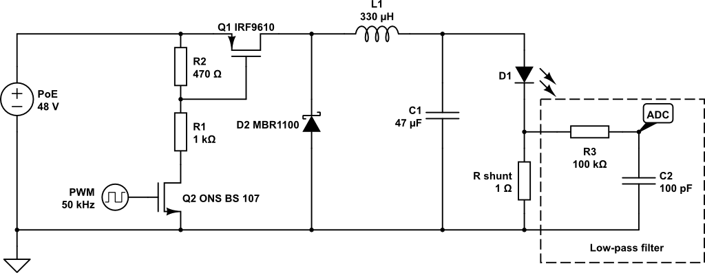 PoE LED driver schematics with low-pass filter highlighted