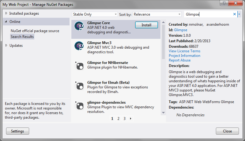 NuGet Package Manager Interface