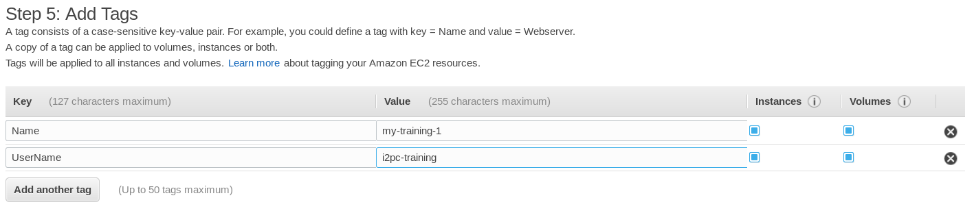 AWS console - Add tags