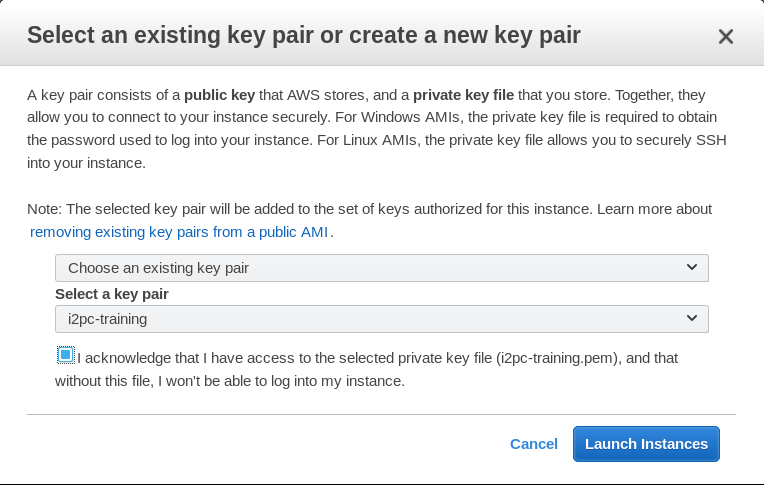 AWS console - Key pairs