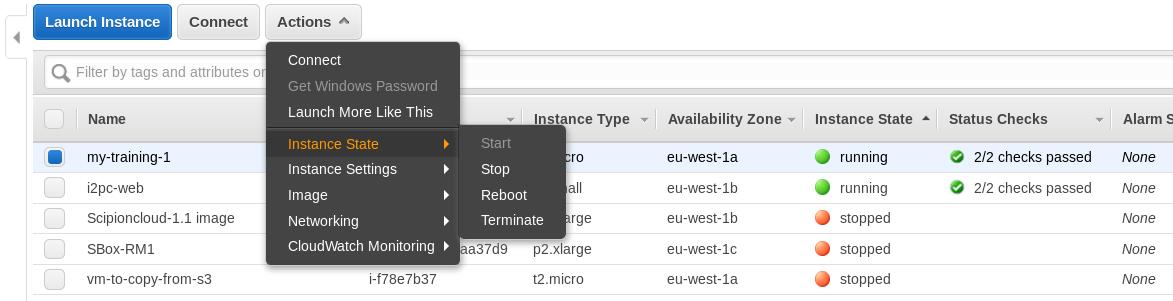 AWS console - manage training instances