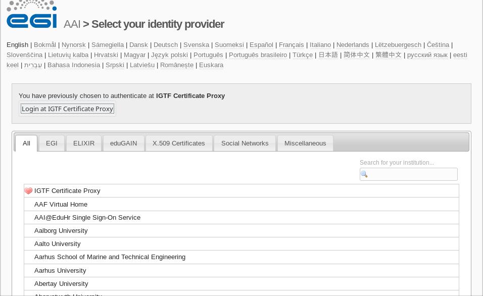 EGI CheckIn Identity providers