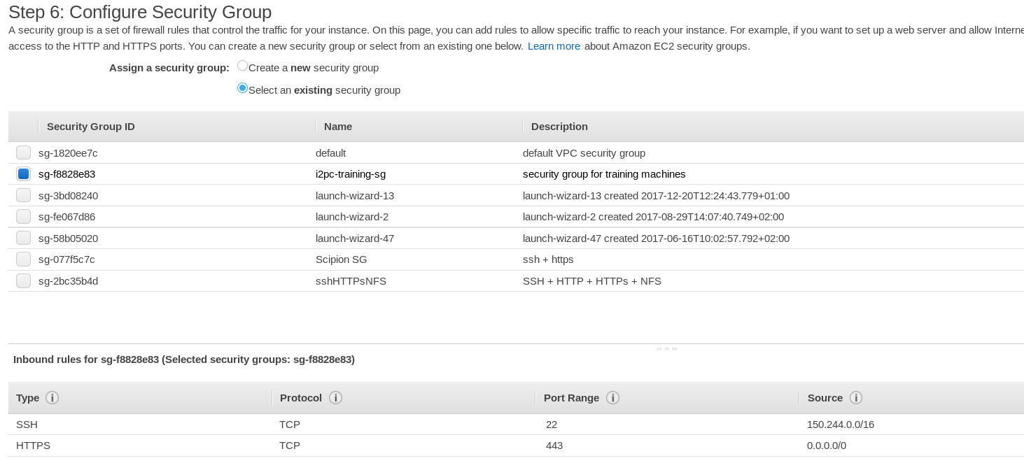 AWS console - Security Groups