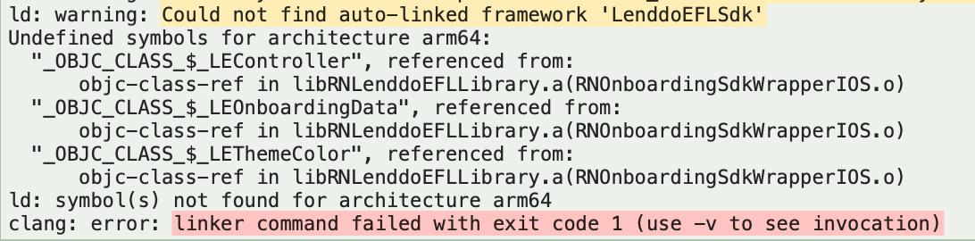 LenddoEFLSdk framework auto-linking failed