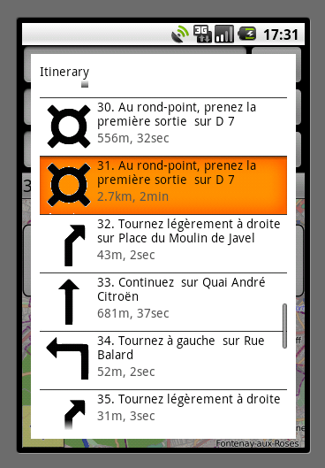 Turn-by-turn instructions shown in list view