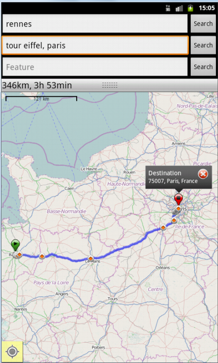Geocoding, route display and bubble
