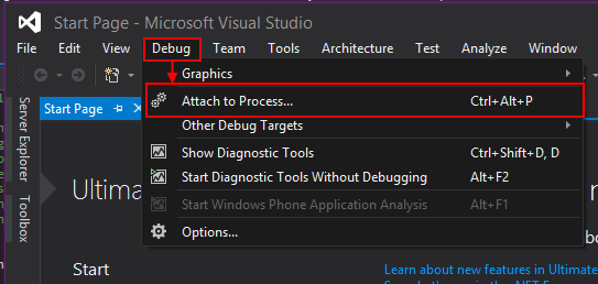 Navigating to the Attach to Process dialog with the menu bar.