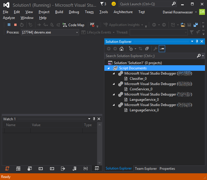 Debugging view after appropriately selecting your Visual Studio instance.