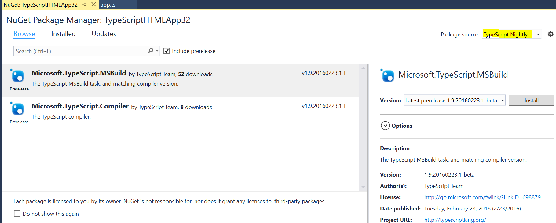 Search for NuGet package.