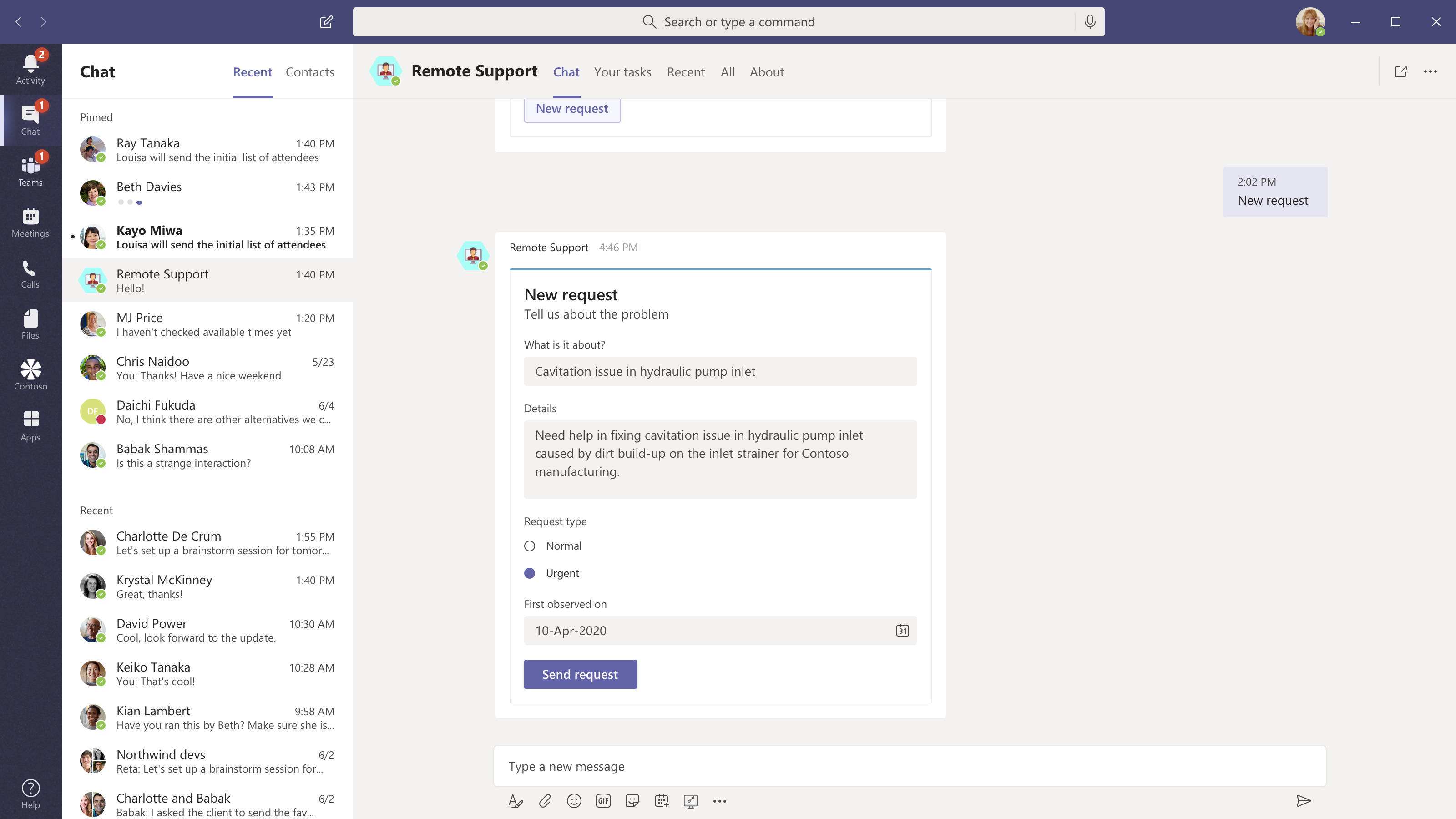 Remote support new request